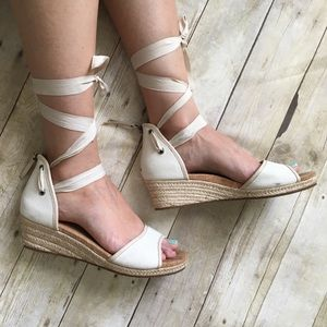 UGG Lace Up Ankle Strap Espadrille Wedges Sandals